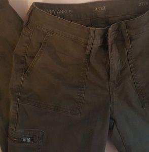 Olive ankle skinny pants w/zip cargo pockets